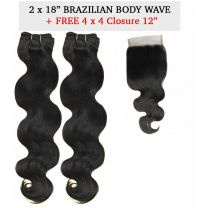 "2 x 18"" Rush Brazilian Temptation + FREE 4 x 4 12"" Closure - Body Wave"