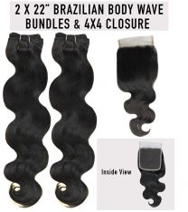 "2 x 22"" Rush BrazilianTemptation - Body Wave + FREE 4X4 Closure"