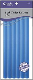 Annie Soft Twist Rollers, Blue, 10 Inch, 12 Count-1261
