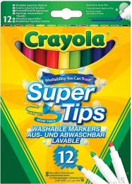 Crayola SuperTips Washable Felt Tip Colouring Pens, Pack of 12, Bright