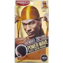 Red by Kiss Wave Cap Power Wave Silky Satin Durag - Gold HDUPP08