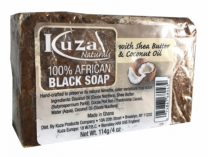 Kuza Naturals 100% African Black Soap with Shea Butter & Coconut Oil - 4 Oz