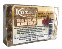 Kuza Naturals 100% African Black Soap with Shea Butter & Castor Oil - 4 Oz