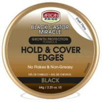 African Pride Black Castor Miracle Hold & Cover Edges Black - 2.25 Oz