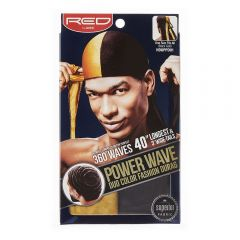 Red by Kiss Power Wave Duo Colour Fashion Durag - Black Gold HDUPPD01